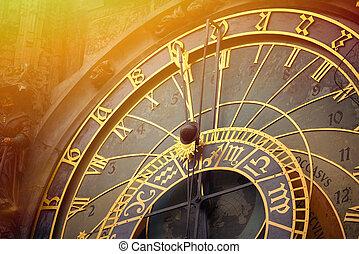 astronómico, detalle, praga, reloj