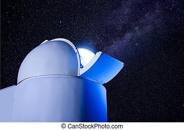 astronómico, observatorio, cúpula, estrellas, noche