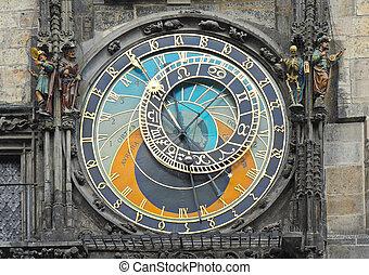 astronómico, staromestska, cuadrado, praga, reloj