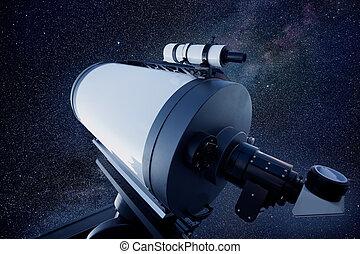 astronómico, telescopio del observatorio, estrellas, noche