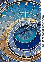 astronómico, viejo, detalle, reloj
