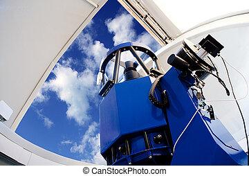 astronômico, indoor, telescópio observatório