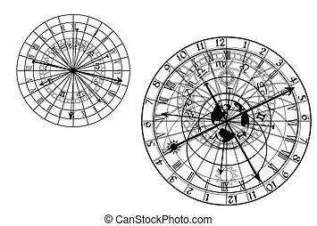 astronômico, vetorial, -, relógio