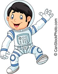 astronau, poco, caricatura, niño, llevando