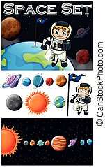 Astronaunt and solar system