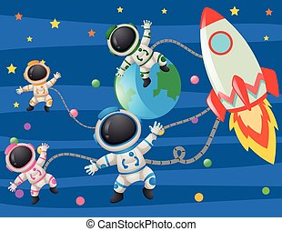 Astronaunts flying in space