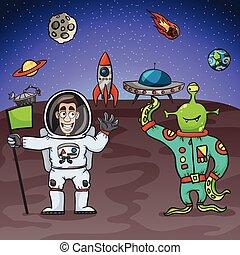 Astronaut And Alien