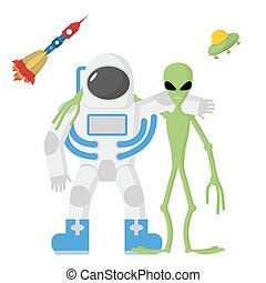 Astronaut and alien friends on a white background. Vector illustration. Rocket and UFO