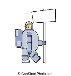 Astronaut and holding blank banner. Cosmonaut and white sheet. spaceman Vector illustration