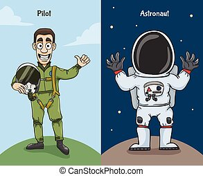Astronaut And Pilot Characters - Astronaut in space suit and...