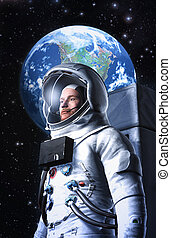 Astronaut and planet Earth 3D render science fiction...