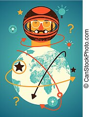 Astronaut and planet Earth. Concept vintage grunge poster with a spaceman. Retro vector illustration.