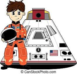 Space capsule in space. Cartoon space capsule spaceship in ...