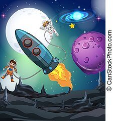 Astronaut and spaceship in galaxy