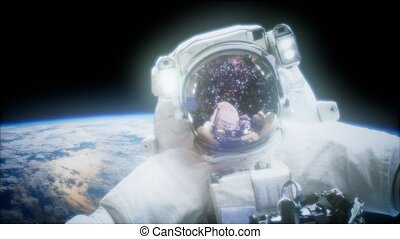 Astronaut at spacewalk. Elements of this image furnished by...