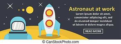 Astronaut at work banner horizontal concept