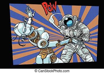 Astronaut beats up female robot, domestic violence