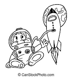 Astronaut - Black and White Cartoon Illustration, Vector