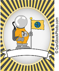 Astronaut blank product label bright oval vector - Chubby...