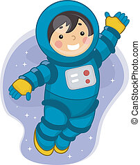 Astronaut Boy - Illustration of a Young Male Astronaut...