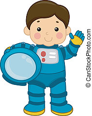 Astronaut Boy - Illustration of a Young Boy Wearing a...