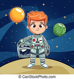 Astronaut boy on space planet cartoon