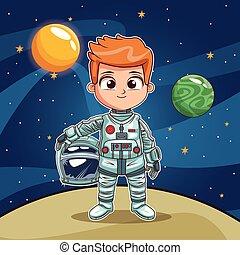 Astronaut boy on space planet cartoon