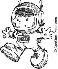 Astronaut Boy Sketch Doodle Vector