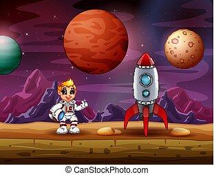 Astronaut boy standing near a rocket spaceship on the moon