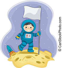 Astronaut Boy with a Flag on the Moon - Illustration of an...