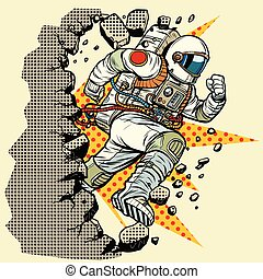 astronaut breaks the wall. Pop art retro vector illustration...