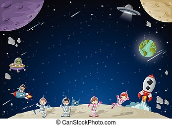 Astronaut cartoon characters on the moon with a alien spaceship.