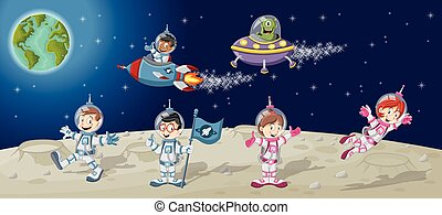 Astronaut cartoon characters on the moon with a alien...