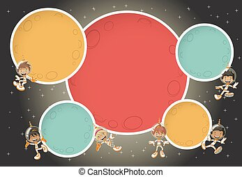 Astronaut cartoon children flying around colorful planets in the space