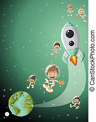 Astronaut cartoon children flying in the space with a futuristic rocket shuttle.