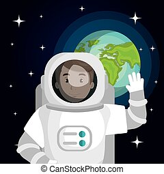 astronaut cartoon space isolated