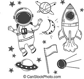Astronaut cartoon space set