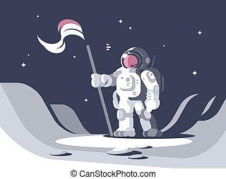 Astronaut character in spacesuit