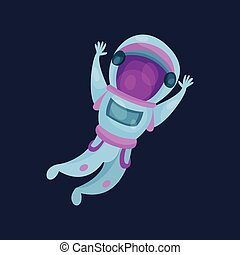 Astronaut character, spaceman flying in Space cartoon vector Illustration