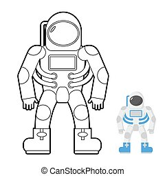 Astronaut coloring book. Vector illustration of a space man.