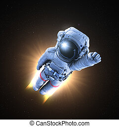 Astronaut conquers outer space, 3d render