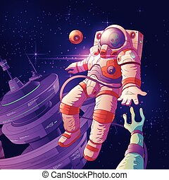 Astronaut contact with alien in space vector