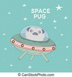 Astronaut dog pug in a ufo on space expedition.