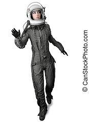 astronaut fashion stand woman space suit helmet - astronaut...