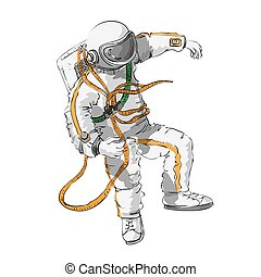 astronaut floating in space color and outline