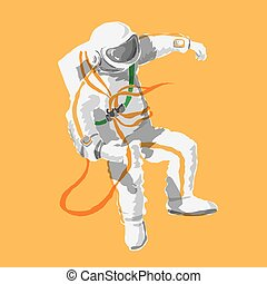 astronaut floating in space color no outline