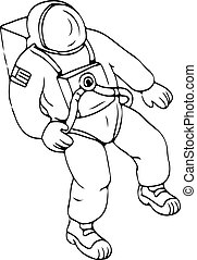 Astronaut Floating in Space Drawing