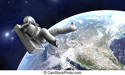 Astronaut floating over the Earth - A Astronaut floating...