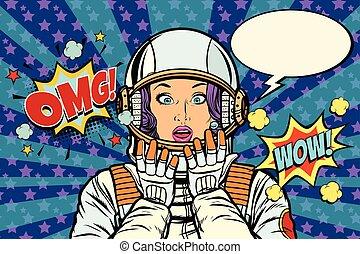 astronaut, forbavselse, kvinde, gestus