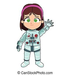 Astronaut girl cartoon